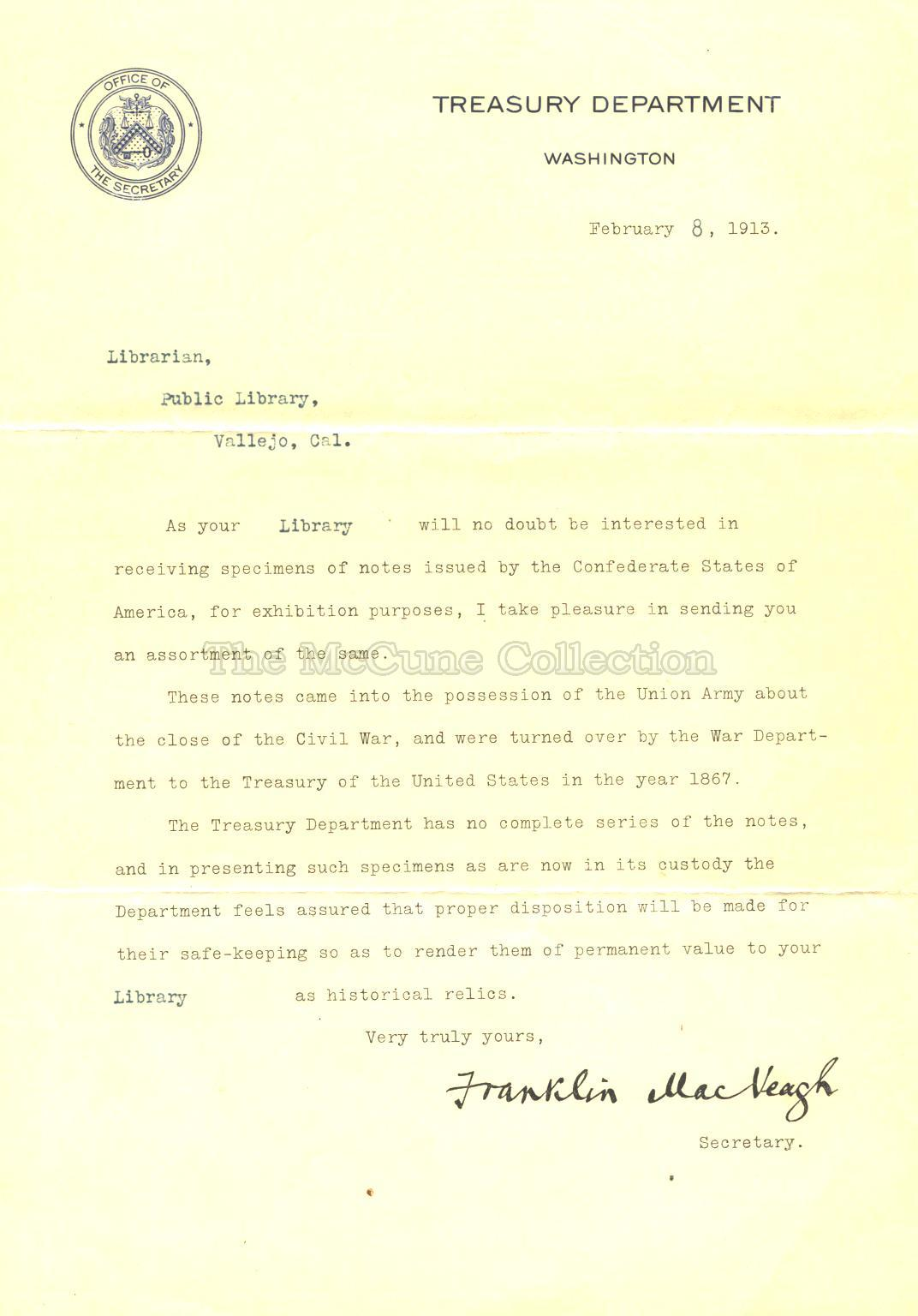 1913 Treasury Dept Letter Concerning Confederate Currency