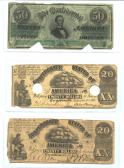 Confederate Currency 1 ($50, $20, $20) front side