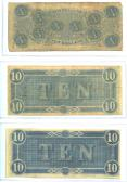 Confederate Currency 5 ($10, $10, $10) back side