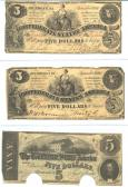 Confederate Currency 6 ($5, $5, $5) front side