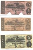 Confederate Currency 7 ($5, $5, $5) front side